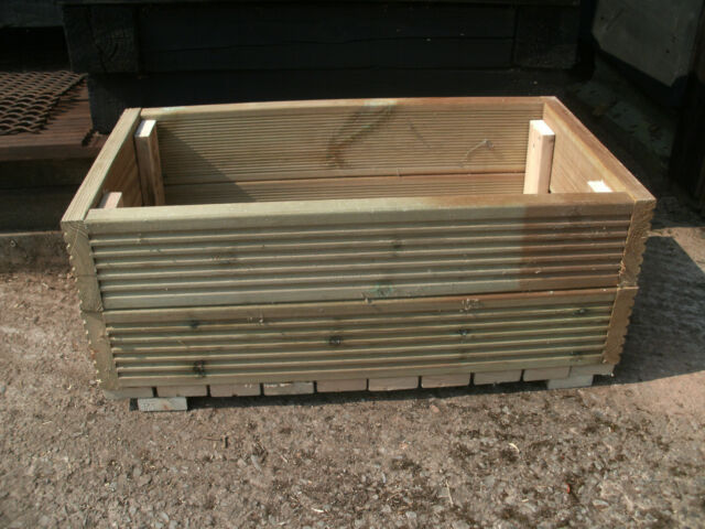 Robust Wooden Timber Garden Planter Trough  - BRAND NEW