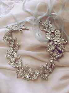 Bridal Wedding Rhinestone Crystal Hair Tiara White Ribbon Silver Headband