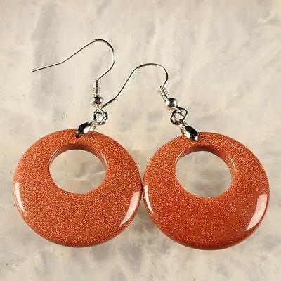g1621 Golden goldstone sandstone dangle earrings