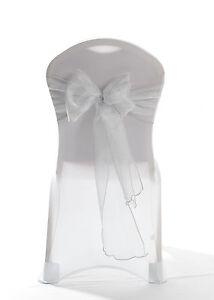 Chair Cover Bows 100 light silver sparkle organza chair cover bow sash wedding uk