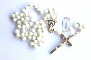 MOTHER-of-PEARL-ROSARY-Beads-Rosaries-GOLD-Plated-ROUND