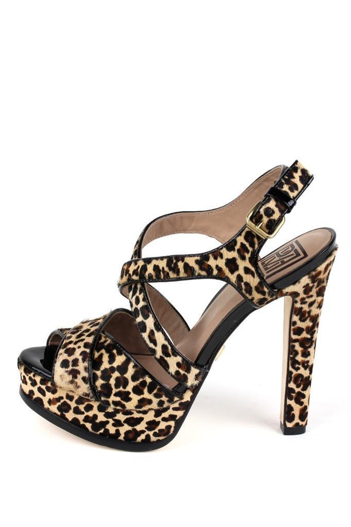 Pour La Victoire 250 Helice Leopard Crisscros Sandale High Heel Platform Sandale