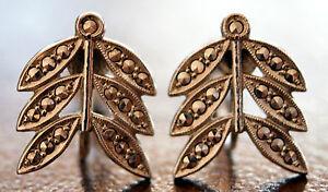 Vintage-Art-Deco-Sterling-Silver-Marcasite-Floral-Laurel-Leaf-Screw-Earrings