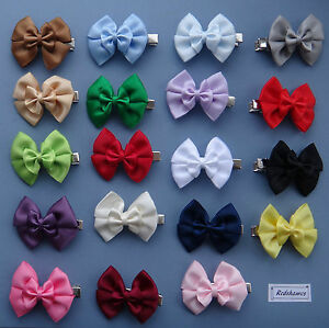 2-x-Double-Satin-Bow-Hair-clips-for-Girls-you-choose-both-colours