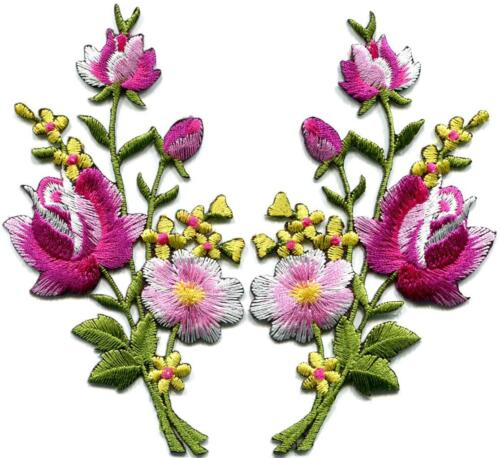 Pink roses pair flowers floral bouquet retro boho applique iron-on patch S-803