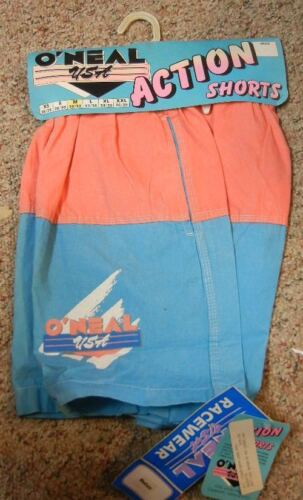 "NOS New O/'Neal Action Shorts 17/"" Overall Length Coral Pink and Aqua Blue Vintage"