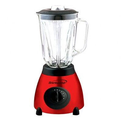 Red Bentwood Stainless Steel Blender  with Glass Jar and 5 Speeds