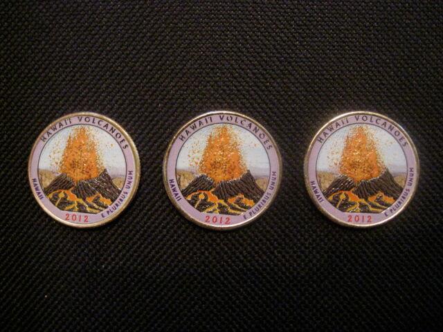 2012 Colorized Hawaii Volcanoes National Park Quarters - P, D, S Mint(3 coins)