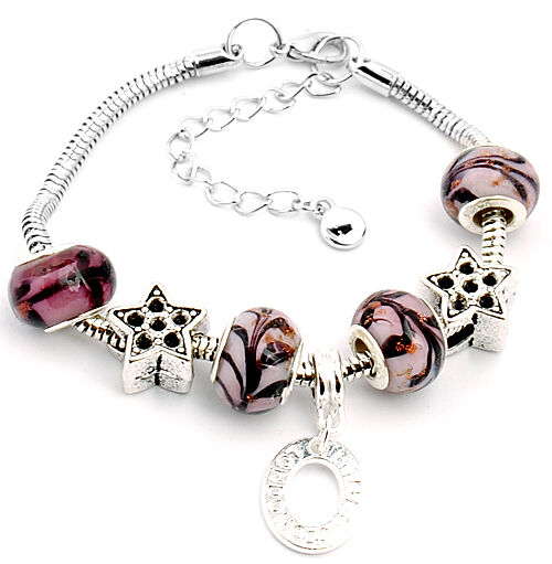 1pc European style murano glass charms bracelet with colorful beads S-A96
