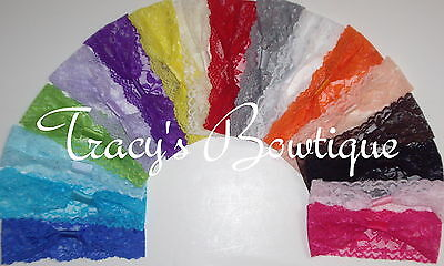 """17 Baby Girls Stretch 2"""" Lace Interchangeable Headbands for Hair Bows & Clips"""