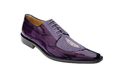 Belvedere Men's Milan Genuine Eel/Stingray Lace Up Oxford Dress Shoes Purple 2N4