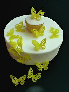 96f8122c18 Details about 15 PRE-CUT BRIGHT YELLOW EASTER 3D BUTTERFLIES EDIBLE RICE  PAPER CAKE TOPPERS