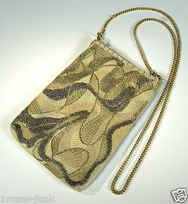 VINTAGE CHRISTINA Gorgeous RETRO Beaded DESIGNER Handbag Gold Purse Bag 1960's!