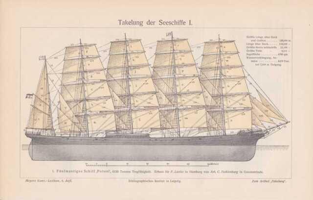 SEGELSCHIFF Potosi Takelung Segeln STICH von 1908 Takelage Windjammer
