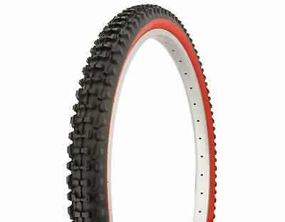 "PAIR BICYCLE TIRES 26"" X 2.10 BLACK W/RED WALL DURO CRUISER BMX MTB LOWRIDER"