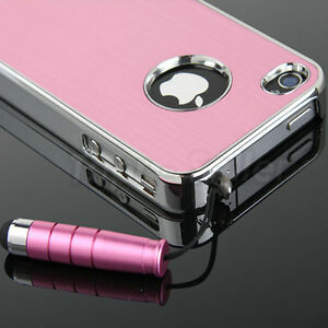 For-iPhone-4S-4G-4-Pink-Chrome-Luxury-Steel-Hard-Cover-Case-Stylus-Screen-Films