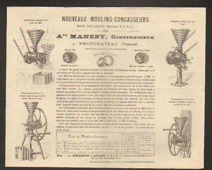 NEUFCHATEAU-88-CONSTRUCTEUR-de-MOULINS-CONCASSEUR-034-A-MANEBY-034-Tarifs-1880
