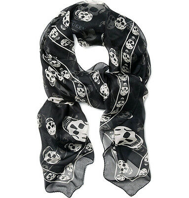 Alexander A McQueen Skull Scarf Black And White New Scarf