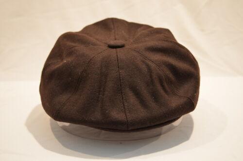 Mens brown wool 8 Panel piece newsboy Baker Boy Cap AKA Cabby gatsby newspaper