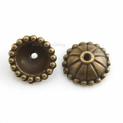 80pcs 160212 Wholesale Round Stripes Alloy Vintage Bronze Bead End Tips Caps