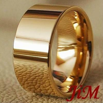Tungsten Mens Ring 14K Gold Wedding Band Bridal 12MM Pipe Cut Jewelry Size 6-15