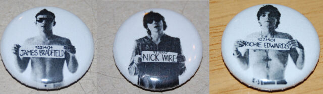 MANIC STREET PREACHERS NICKY / JAMES / RICHEY WANTED SIGN 25MM BUTTON BADGE