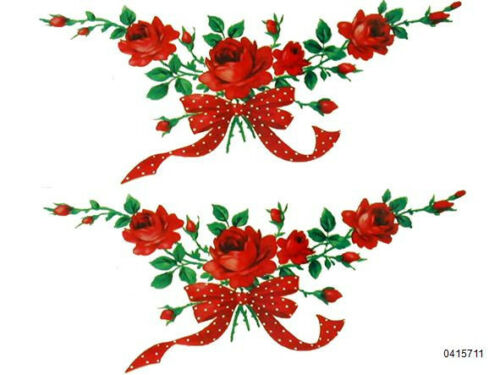 VinTaGe IMaGe XL RePro LonG STeM ReD RoSeS RiBboN SWaGs ShaBby WaTerSLiDe DeCALs