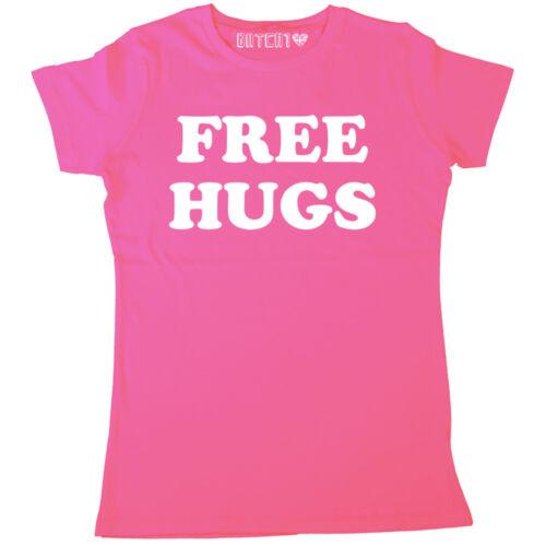 FREE HUGS RETRO CLASSIC SLOGAN WOMENS PRINTED T-SHIRT ALL COLOURS /& SIZES