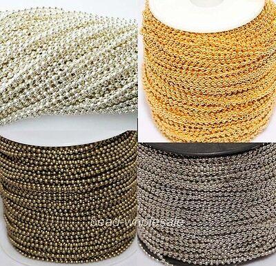 5m/100m Silver/Golden/Bronze Metal Ball Chain Lot For Necklace u pick colour