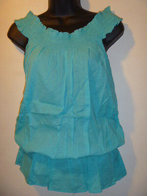 Top Size Large Sexy Turquoise Wear On or Off Shoulder Smocked Waist Peasant T01