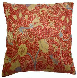 Dark Orange Decorative Pillows : Dark Bittersweet Orange Vibrant Floral Brocade Decorative Throw Pillows eBay