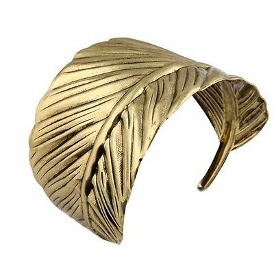 vintage ethnic gold tone alloy curving vivid feather/leaf cuff bracelet 30g 9B25