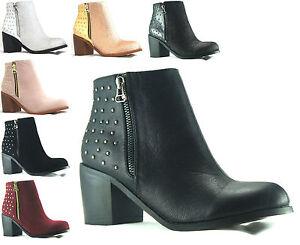 WOMENS-LADIES-BLACK-ANKLE-BLOCK-HEEL-STUD-AT-BACK-CHELSEA-BOOTS-SHOES-UK-3-8