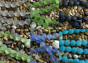 15mm-Coin-Beach-Sea-Glass-Beads-You-Pick-From-6-Colors-Clear-Black-Blue-Opal