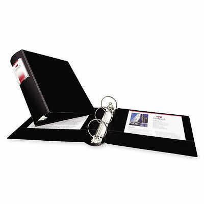 Heavy-Duty Binder with Three Round Rings, 2in Capacity Black