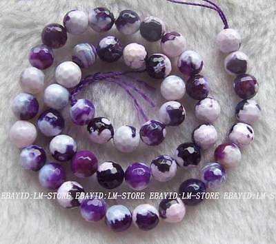 """8mm Purple Crab Agate Faceted Round Beads 15"""""""