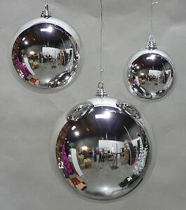 LARGE SHINY SILVER 200MM PLASTIC CHRISTMAS BALL 8 ...