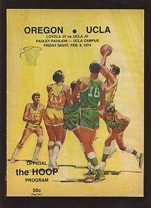 Feb 8 1974 NCAA Basketball Program Oregon at UCLA VG+