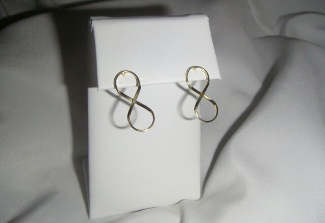 Infinity Symbol Earrings-Yellow Gold-Sterling Silver-Eternity-Forever-Post-Stud
