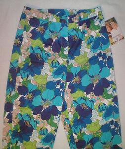 NWT-womens-ladies-size-S-4-6-aqua-blue-green-khaki-floral-capris-cropped-pants