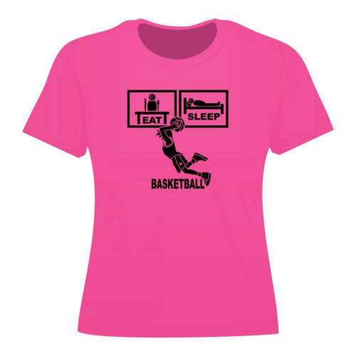 Womans Eat Sleep Basketball T Shirt Ladies Slam Dunk Top