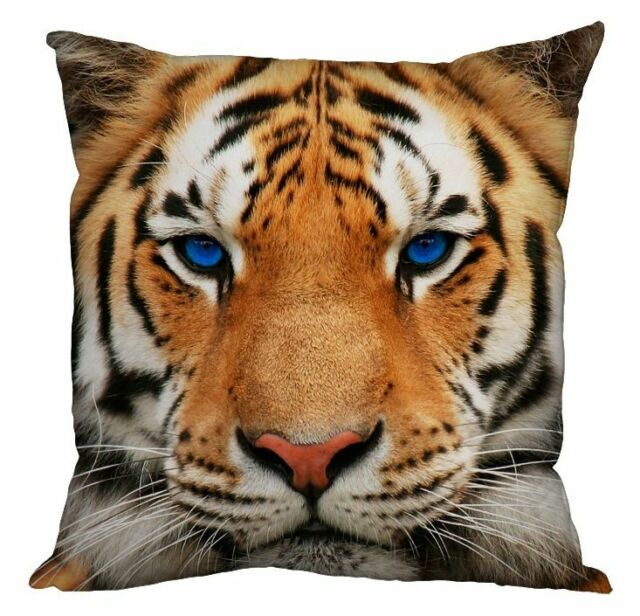 "TIGER FACE BLUE EYES MODERN DESIGN 18"" X 18"" CUSHION ANIMAL PRINT"