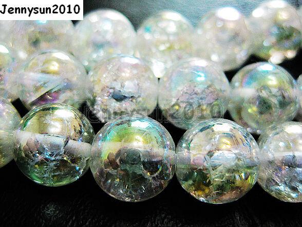 Natural Clear AB Crystal Quartz Gemstone Round Beads 15.5'' Strand 8mm 10mm 12mm