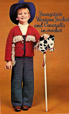 CHILD'S Western Jacket & Coveralls/Crochet Pattern Instructions