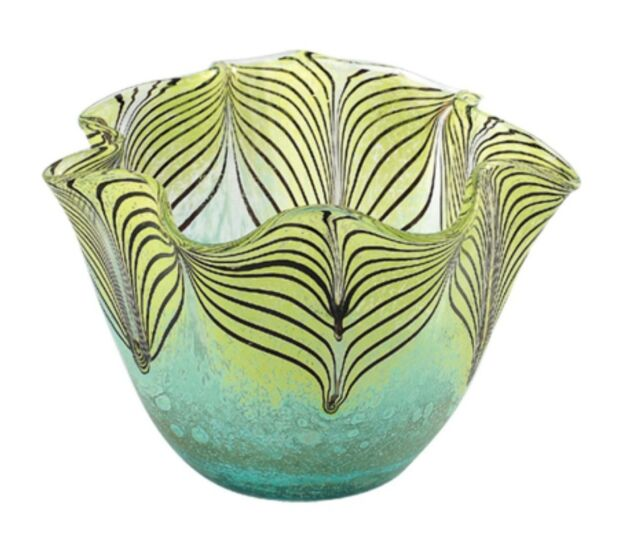 "New 9"" Hand Blown Glass Art Vase Bowl Blue Green Pulled Feather Decorative"