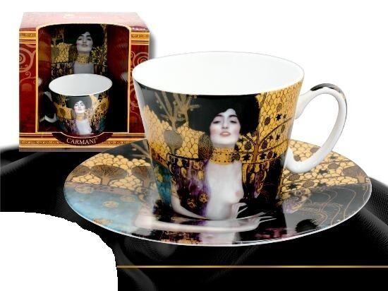 """Gustav Klimt  Wunderschöne Tasse mit Untertasse """"Judith und Holopherne"""" Carmani1"""