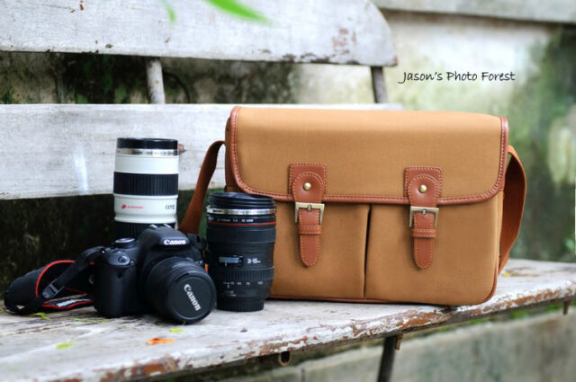Vintage canvas Leather camera bag Messenger bag for DSLR Camera and lens 03-034