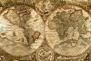 VINTAGE LOOKING OLD WORLD MAP POSTER PHOTO PERFECT WALL ART PICTURES - World map sepia toned