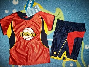 Wilson-Outfit-2pc-Short-Set-Baseball-Toddler-Boy-Size-3T-Orange-Navy-Blue-NWT