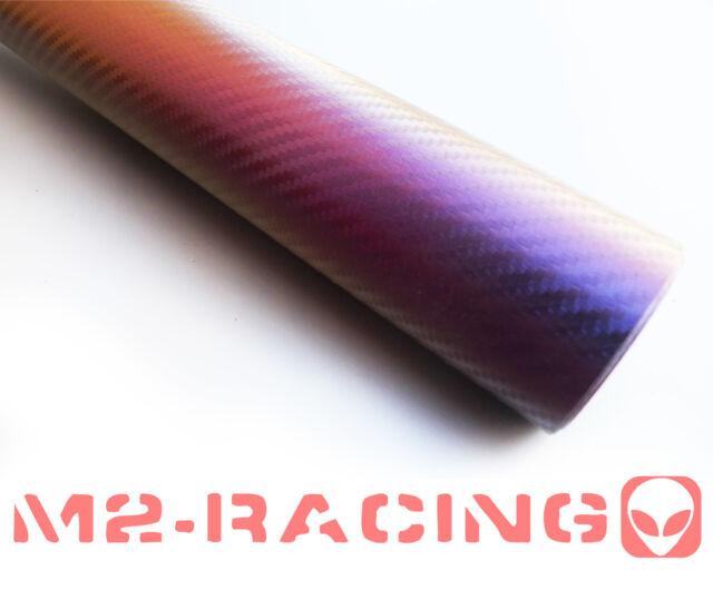 "4"" x 8"" SAMPLE CHAMELEON Purple Blue Carbon Fiber Vinyl Wrap Sticker Decal Sheet"